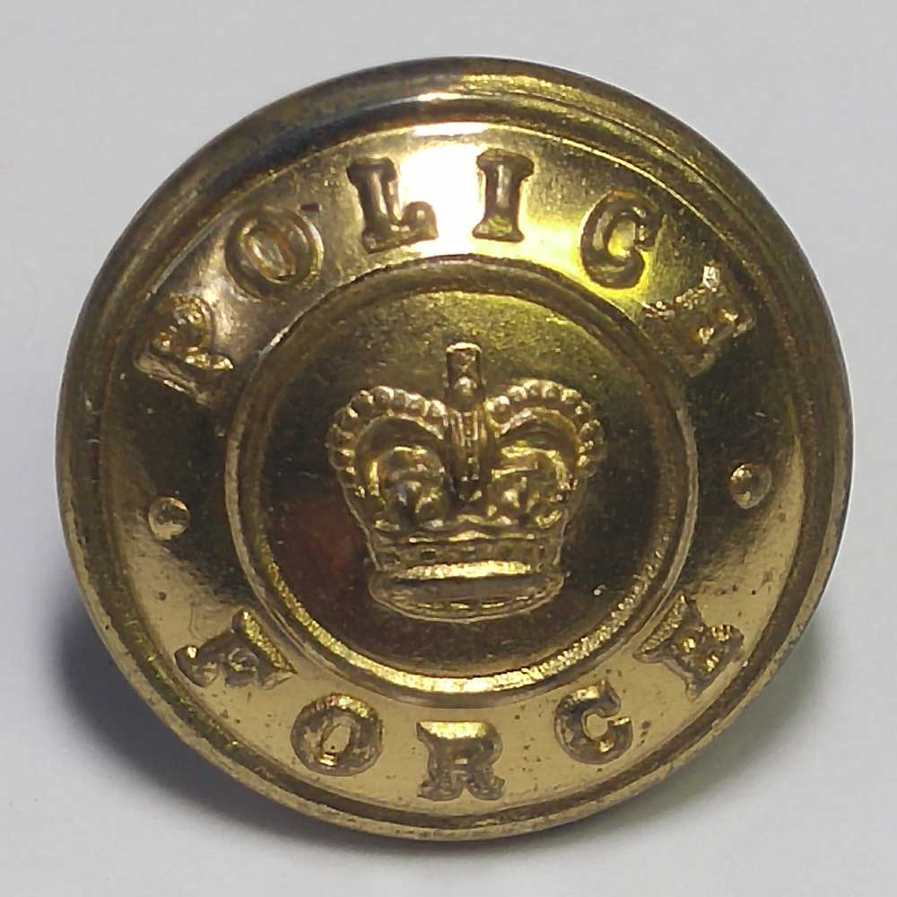 Police Force with Crown, Gold, 5/8""