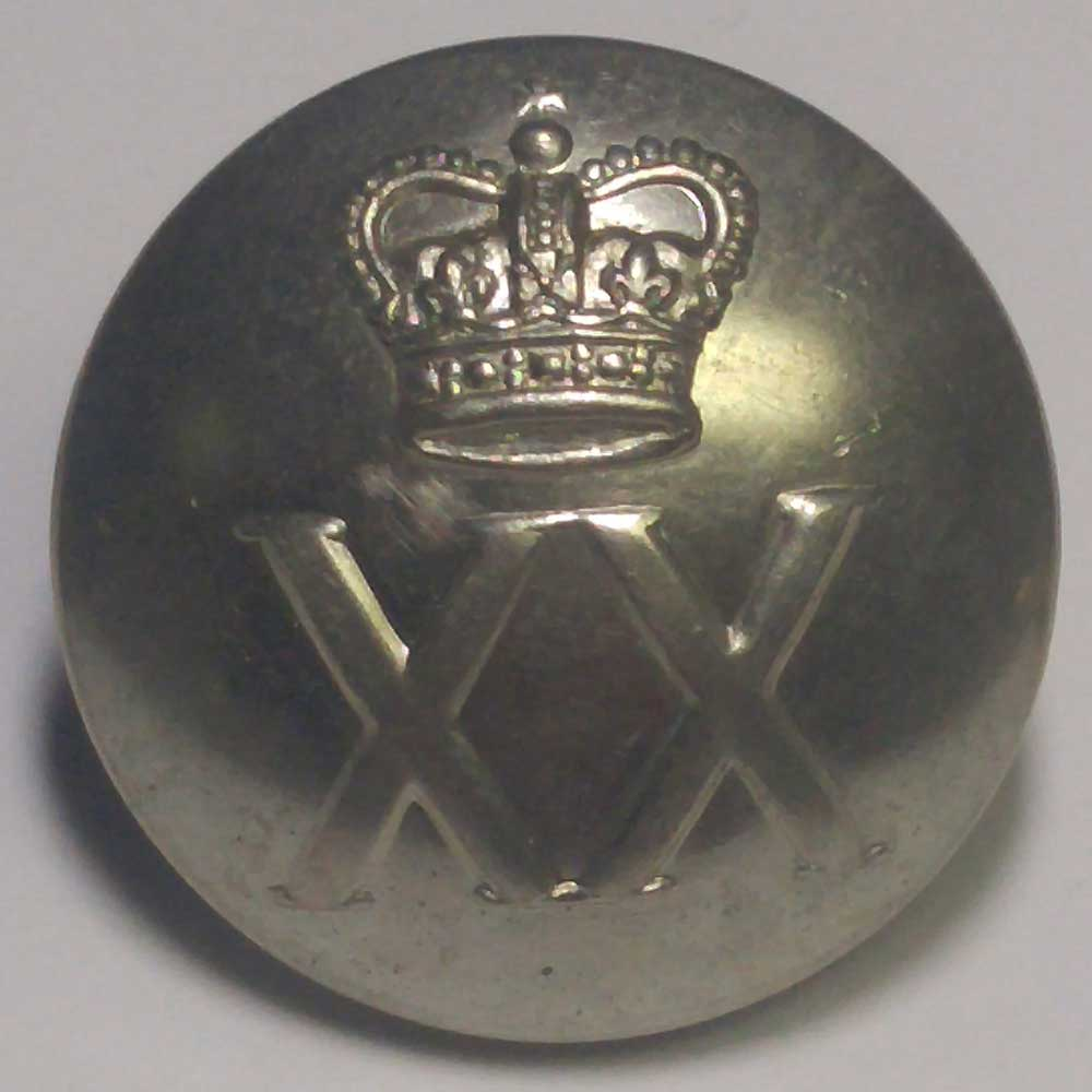 "XX (20th) Regiment, Domed, Chrome, 25mm (1"")"