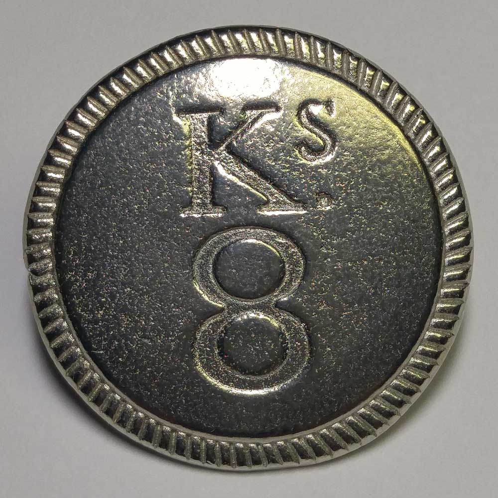 King's 8th Regiment, Pewter, 7/8""