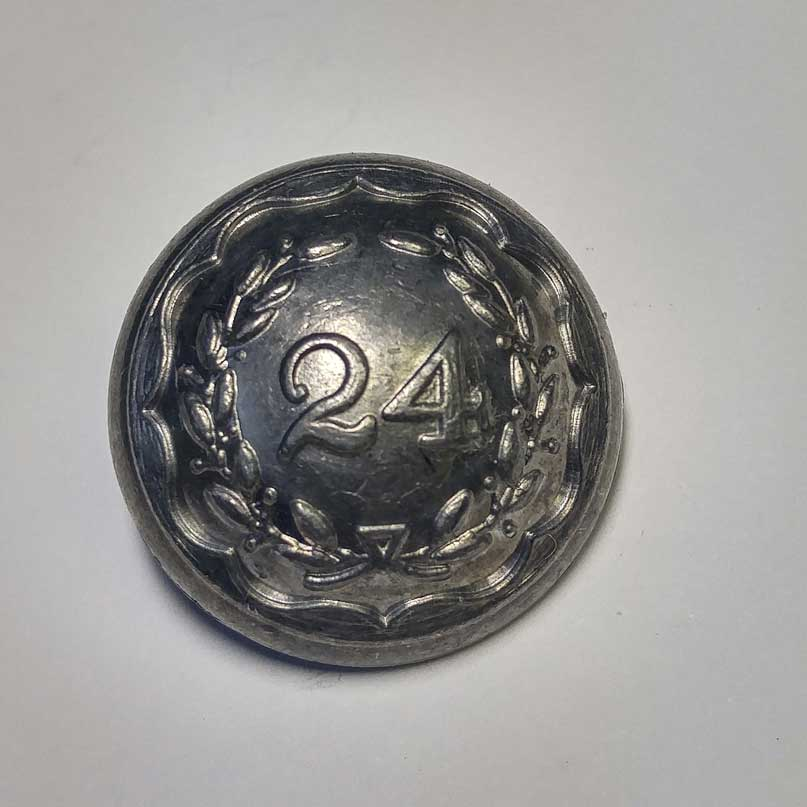 24th Regiment, Pewter, Domed, 13/16""