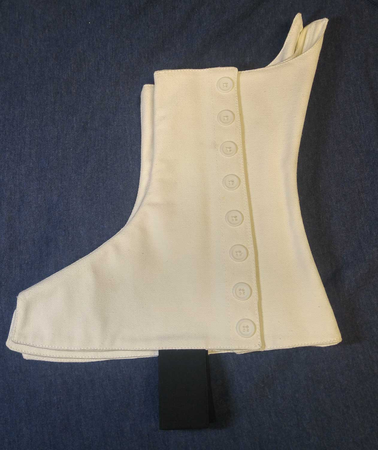 White Spats, White Buttons, Size 5