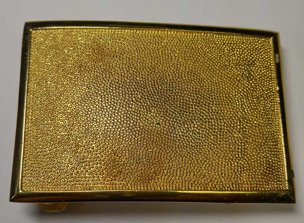 Buckle: Plate, Mil. Pebble Gold, 1-3/4""