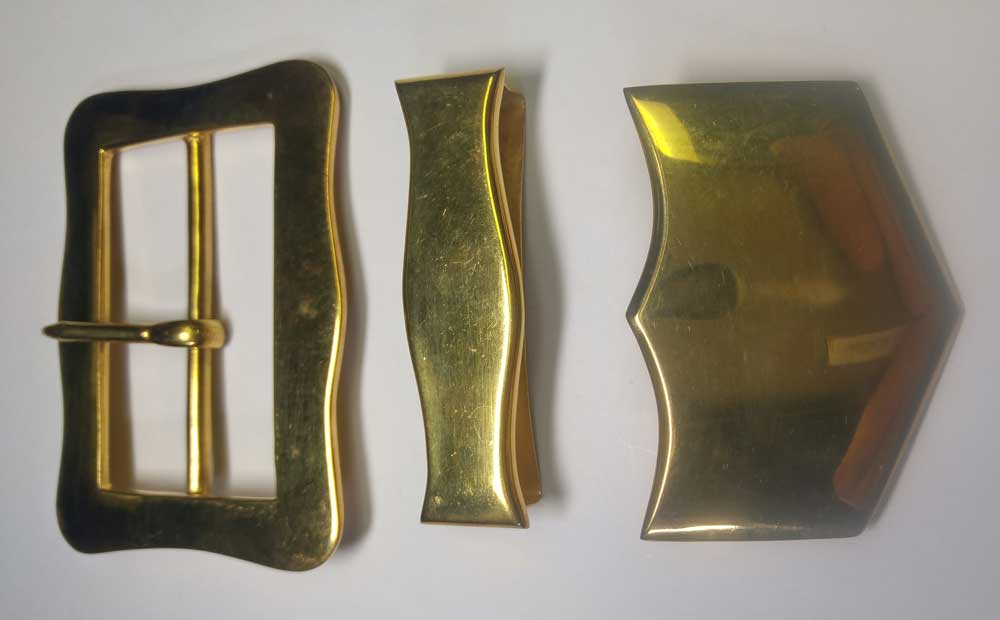 Buckle Set: X-Belt, Dragoon, Gold, 2-3/4""