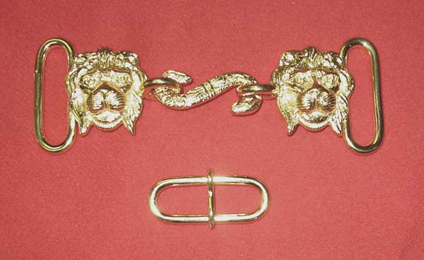 "Buckle Set: GLI Lion Head/Snake, 1-1/2"", Gold"