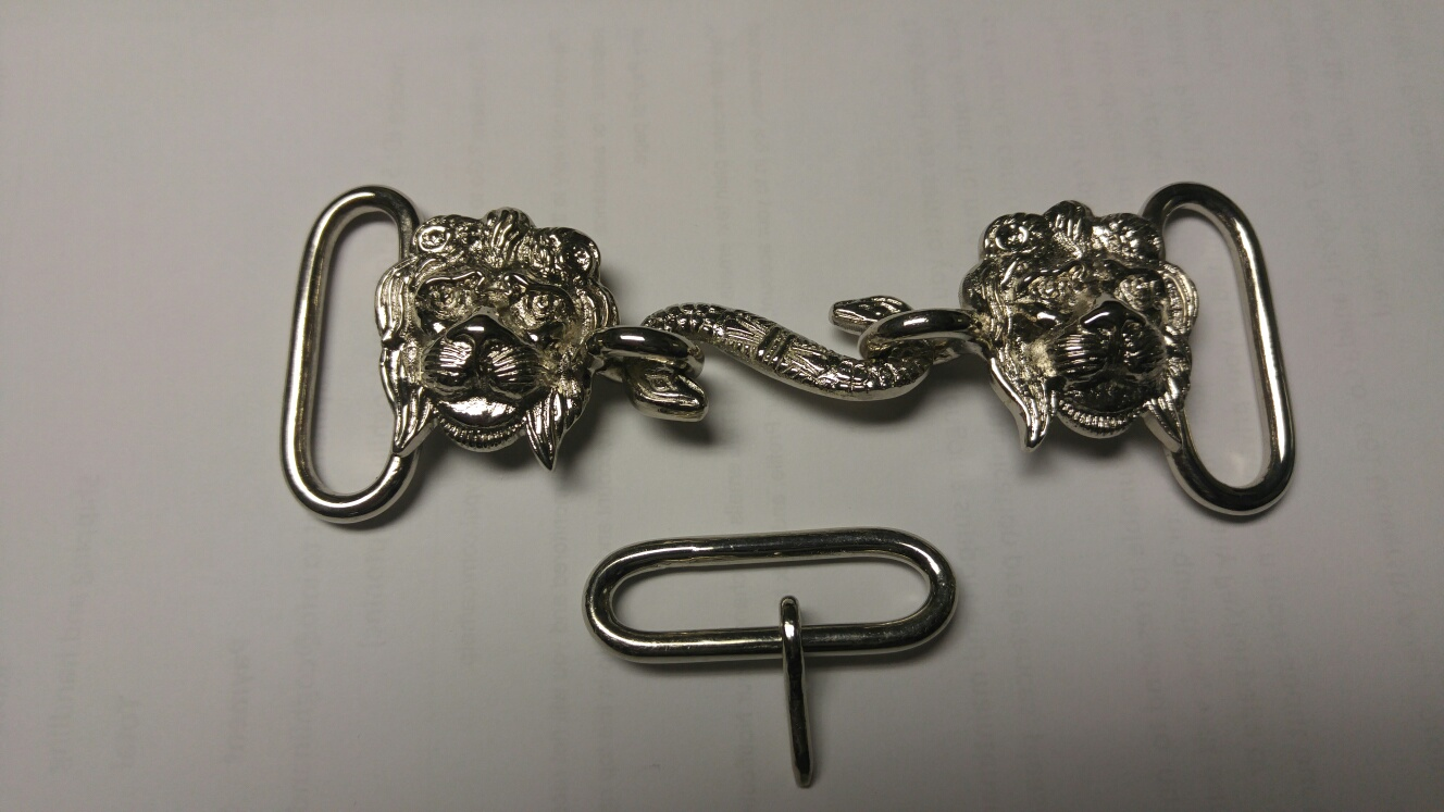 "Buckle Set: GLI Lion Head/Snake, 1-1/2"", Nickel"