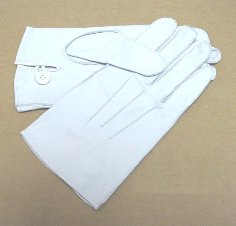 Officers Kid Gloves, Button Closure, White