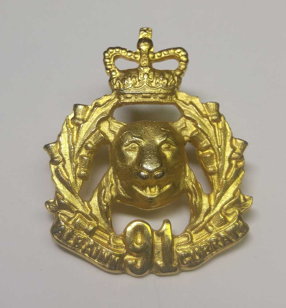 "Badge: Argyll &Sutherland, ""91st"" Mini Bonnet Badge"