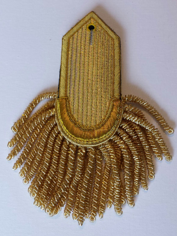 Epaulette, Gold, Plain Curved/Pointed