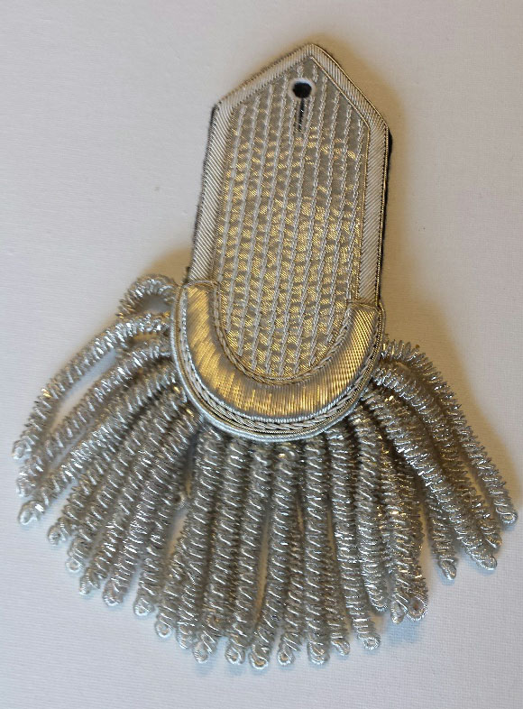 Epaulette, Silver, Plain Curve/Pointed